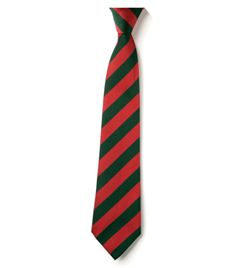 Cedars Tie – Red / Green striped Clip-on