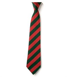 Cedars Tie – Red / Green striped Clip-on