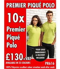 10x Premier Polo Shirts